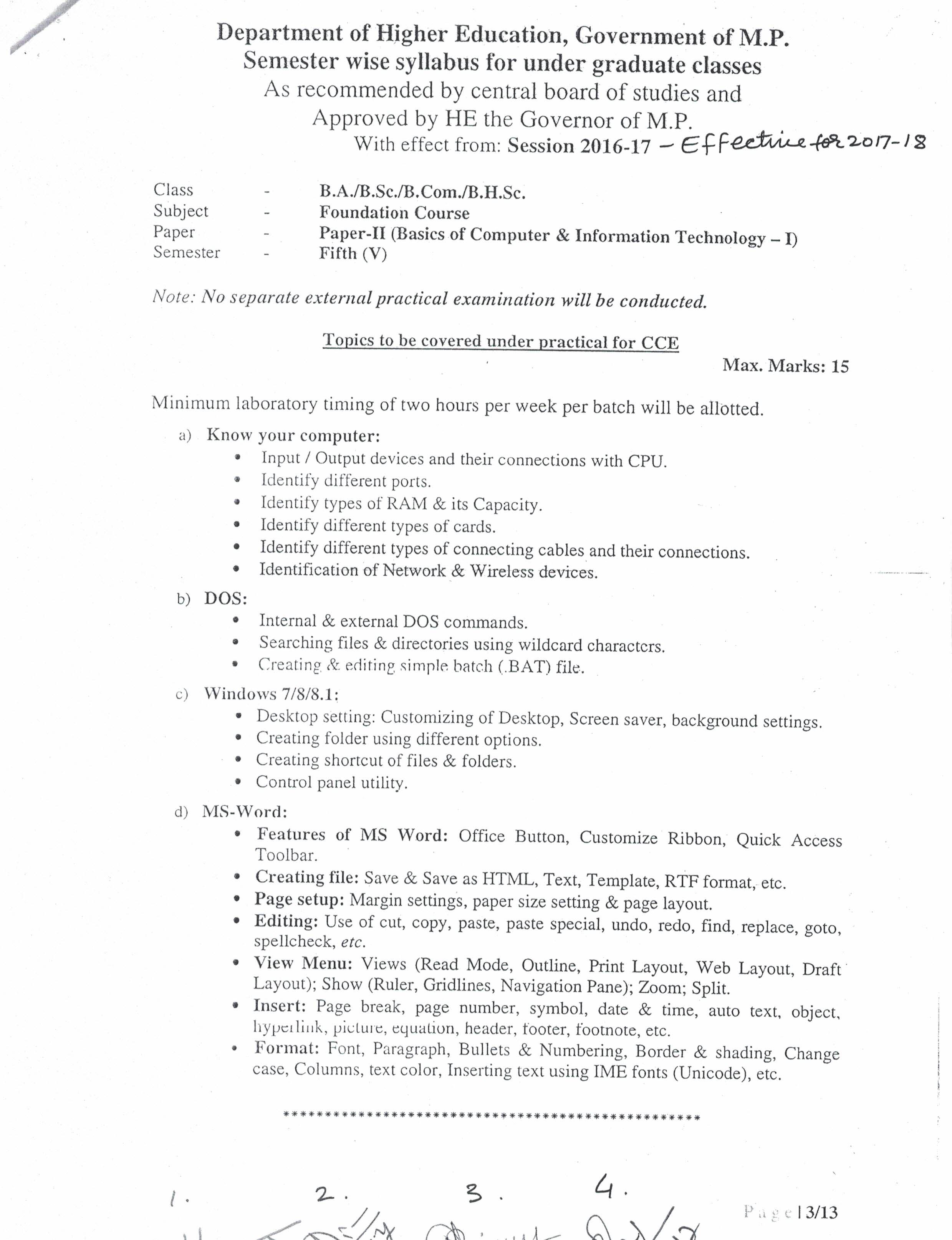 Syllabus – Government Science College, Jabalpur, MP